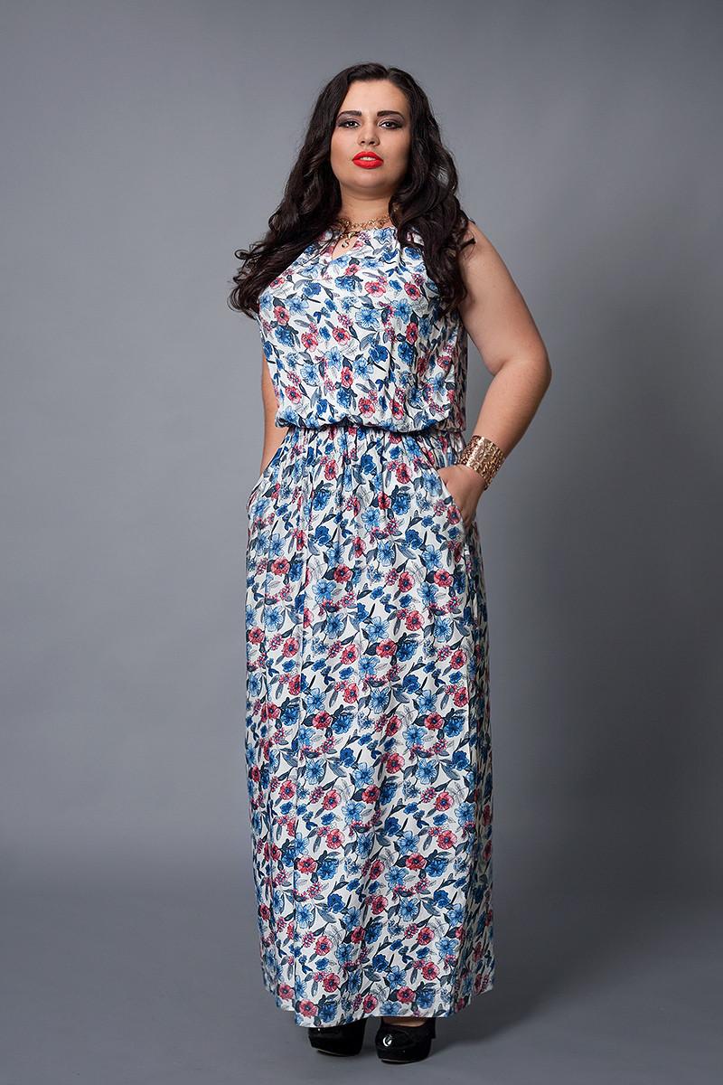 Платье мод №497-5, размер 48-50 розовые цветы