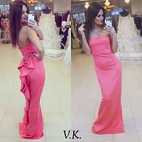 Женское красивое платье в пол с бантом