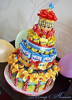 Торт из Барни, соков и шоколадок. Угощение в садик или школу.