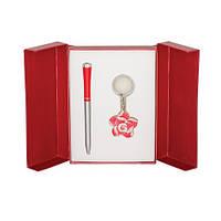 """Набор подарочный """"Rose"""": ручка шариковая + брелок, красный"""