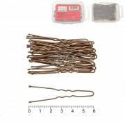 Шпилька для волос 6 см. цвет тёмная бронза, в пластиковом боксе, в упаковке 48 шт.