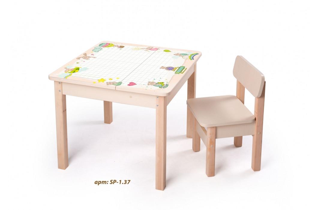 Стол-парта с фотопечатью без стульчика SP-1.37 Венге светлый (ТМ Вальтер)