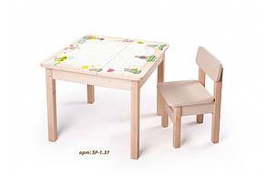 Стол-парта с фотопечатью без стульчика SP-1.37 Венге светлый (ТМ Вальтер), фото 2