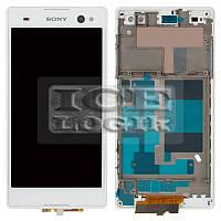 Дисплей для мобильного телефона Sony D2502 Xperia C3 Dual, белый, с рамкой, с сенсорным экраном, ori