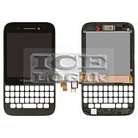 Дисплей для мобильного телефона Blackberry Q5, черный, с передней панелью, с сенсорным экраном