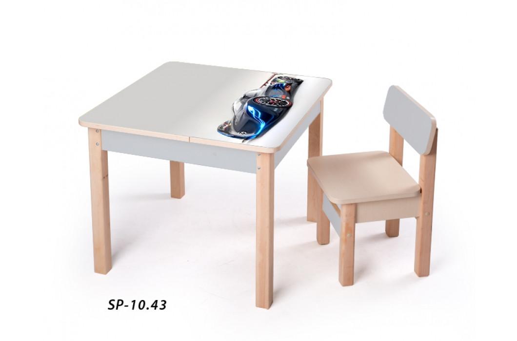 Стол-парта с фотопечатью без стульчика SP-10.43 Венге светлый/Серый (ТМ Вальтер)