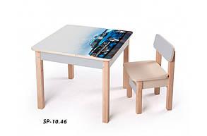 Стол-парта с фотопечатью без стульчика SP-10.46 Венге светлый/Серый (ТМ Вальтер), фото 2