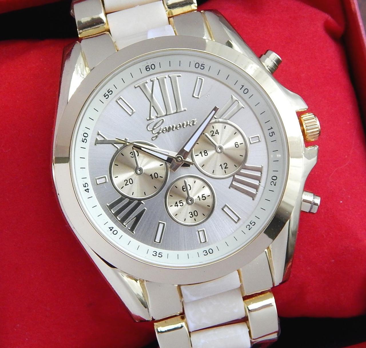 Часы Geneva (gold-cream) - гарантия 6 месяцев