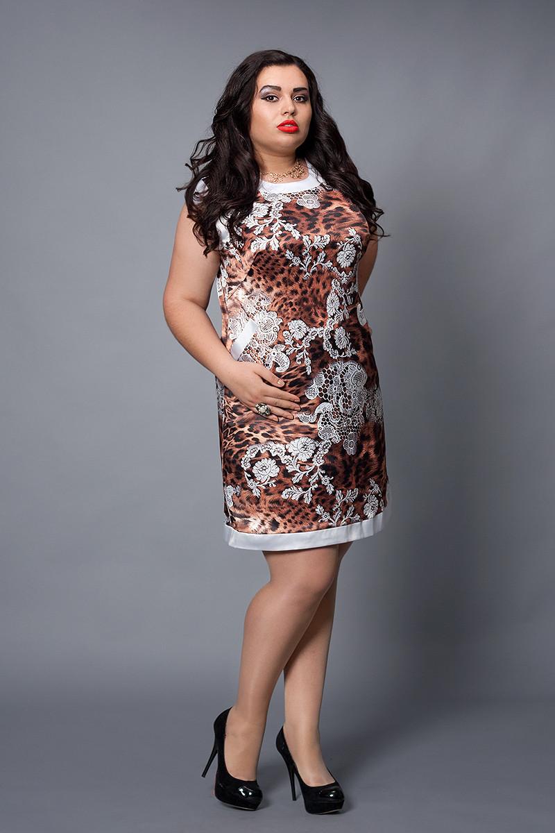 Платье женское модель №479-3, размеры 46-48 коричневое кружево