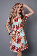 Платье мод 475-11,размер 48-50 бирюза в цветок
