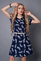 Платье мод 475-16,размер  48-50 синее перо