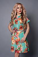 Платье мод 475-18,размер 42-44,44-46 бирюза зеленая -цветок