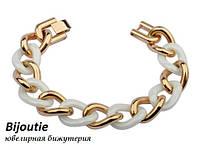Браслет GLAMOUR WHITE ювелірна біжутерія золото 18К декор біла емаль