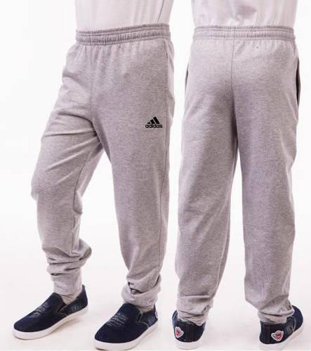 Спортивные штаны детские для мальчика Adidas (Адидас) на манжетах трикотажные двунитка серого цвета Украина