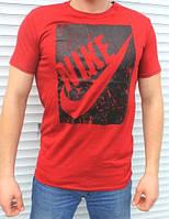 Красная Футболка мужская Найк с большим принтом  Nike