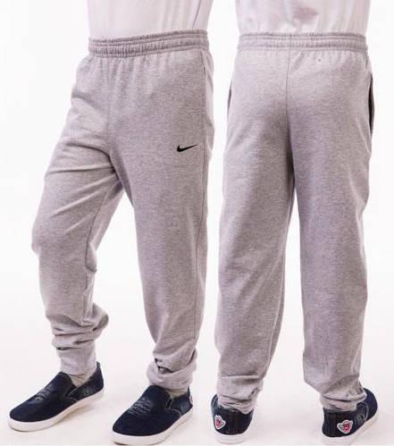 Спортивные штаны детские для мальчика Nike (Найк) на манжетах трикотажные двунитка серого цвета Украина