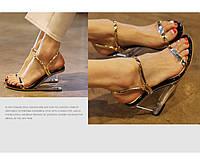 Новинка стильные кожаные босоножки прозрачный клин 2 цвета, фото 1