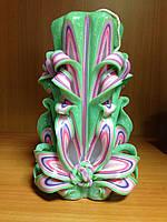 Свеча резная большая SRXL - 05 (Цвет зеленый с розовым)