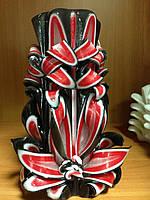 Свеча резная большая SRXL - 06 (Цвет черный с красным)