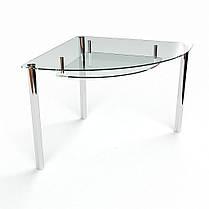 Стол кухонный стеклянный Сектор прозрачный с полкой 70х70 *Эко (БЦ-стол ТМ), фото 3