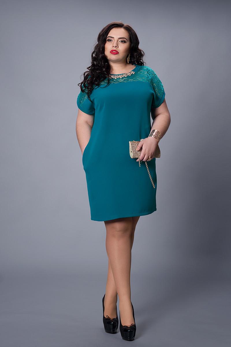 Платье мод №502-5, размер 50-52 морская волна