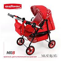 3011 Кукольная коляска-трансформер 2в1 с люлькой Adbor Mini Ring (MR8, красный, цветы маленькие на красном)