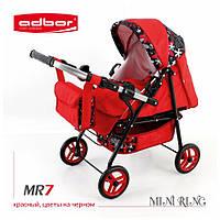 3011 Кукольная коляска-трансформер 2в1 с люлькой Adbor Mini Ring (MR7, красный, цветы на черном)