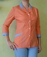 Медицинский костюм оранжевый с голубым