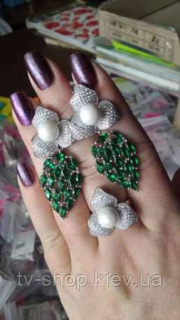 Набор из серебра кольцо и серьги Дива ,р 17,5