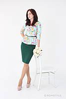 Блуза молодіжна класична з баскою в комплекті з спідницею із трикотажного полотна (Голубий)