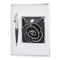 """Набор подарочный """"Floret"""": ручка шариковая + кошелек для монет + зеркальце, черный"""