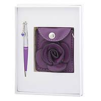 """Набор подарочный """"Floret"""": ручка шариковая + кошелек для монет + зеркальце, фиолетовый"""