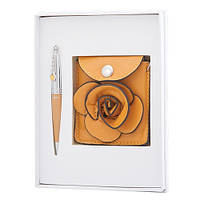 """Набор подарочный """"Floret"""": ручка шариковая + кошелек для монет + зеркальце, желтый"""