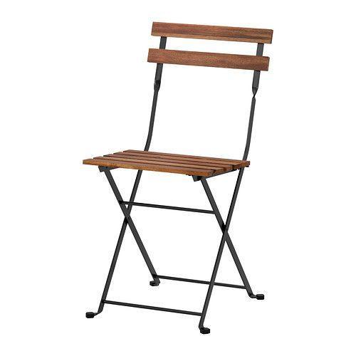 ТЭРНО Садовый стул, складной акация черный, сталь серо-коричневая мори