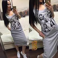 Платье женское серое ОС/-618