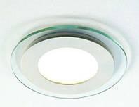 Светодиодный LED светильник (врезной) круг 6Вт. Со стеклянной рамкой. 100х30мм. 3000/4000-4500К