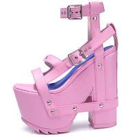 Босоножки на толстом каблуке платформа 16см 3 цвета
