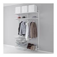 "IKEA ""АЛЬГОТ"" Настен шина/штанга/модуль д/обуви, белый, 132x40x196 см"