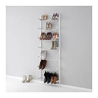 "IKEA ""АЛЬГОТ"" Настенная шина /модуль д/обуви, белый, 66x20x196 см"