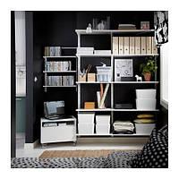 """IKEA """"АЛЬГОТ"""" Настенная шина/полки, белый, 154x40x196 см"""