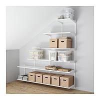 """IKEA """"АЛЬГОТ"""" Настенная шина/полки, белый, 189x40x56/196 см"""