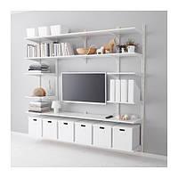 """IKEA """"АЛЬГОТ"""" Настенная шина/полки, белый, 210x40x196 см"""