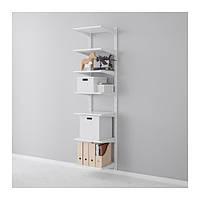 """IKEA """"АЛЬГОТ"""" Настенная шина/полки, белый, 45x40x196 см"""