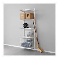 "IKEA ""АЛЬГОТ"" Настенная шина/полки, металл белый, 65x40x196 см"