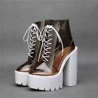 JC Europe новые ботинки босоножки с толстым супер высоким каблуком 18-16см  2 цветаи, фото 1