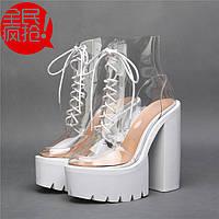 JC Europe новые ботинки босоножки с толстым супер высоким каблуком 18-16см  2 цветаи