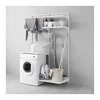 "IKEA ""АЛЬГОТ"" Настенная шина/полки/сушилка, металл белый, 132x60x196 см"
