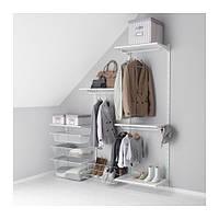 """IKEA """"АЛЬГОТ"""" Настенная шина/полки/штанга, белый, 188x40x196 см"""