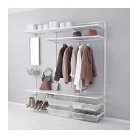 """IKEA """"АЛЬГОТ"""" Настенная шина/полки/штанга, белый, 190x40x196 см"""