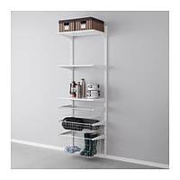 """IKEA """"АЛЬГОТ"""" Настенная шина/проволочные корзины, белый, 65x40x196 см"""